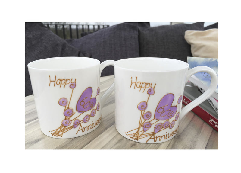 60th Wedding Anniversary Mugs Flower