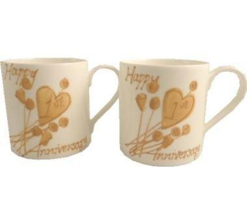 1st Wedding Anniversary Mugs Flower