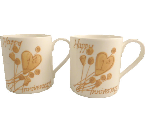 1st Wedding Anniversary China Mugs: (Flower)