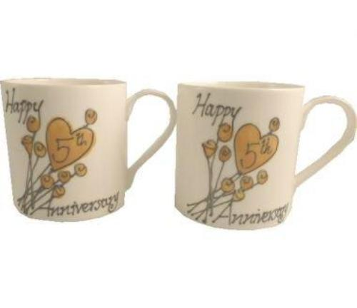 5th Wedding Anniversary Mugs Flower