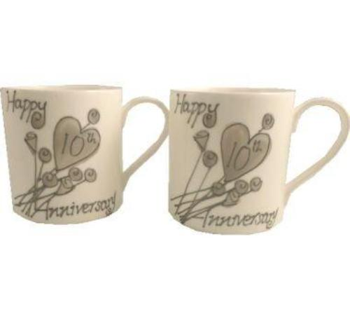 10th Wedding Anniversary Mugs Flower