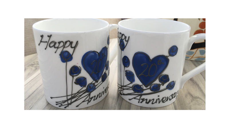 20th Anniversary China Mugs Flower