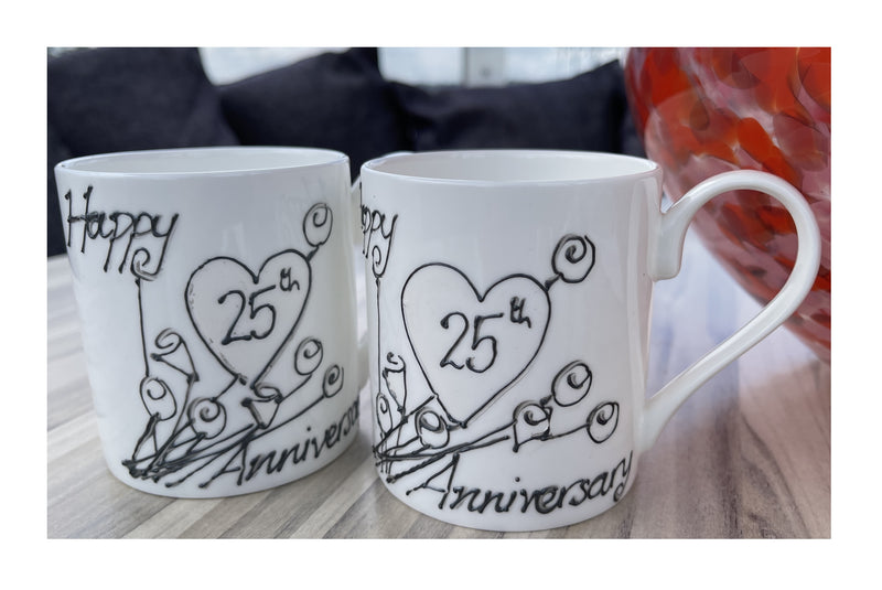 25th Wedding Anniversary Mugs Flower