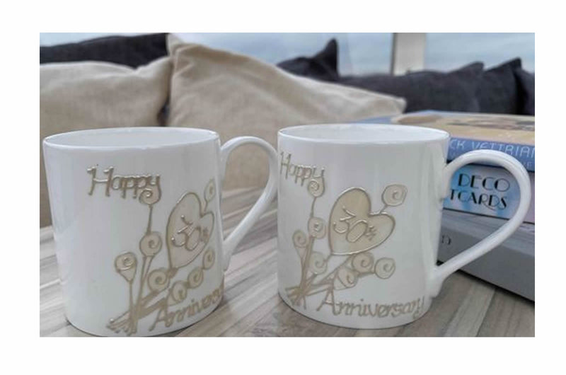 30th Anniversary Flower China Mugs