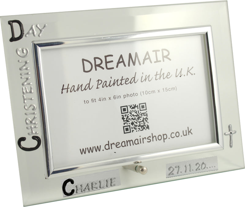 Personalised Christening Day Photo Frame Land (Blk/Sil)