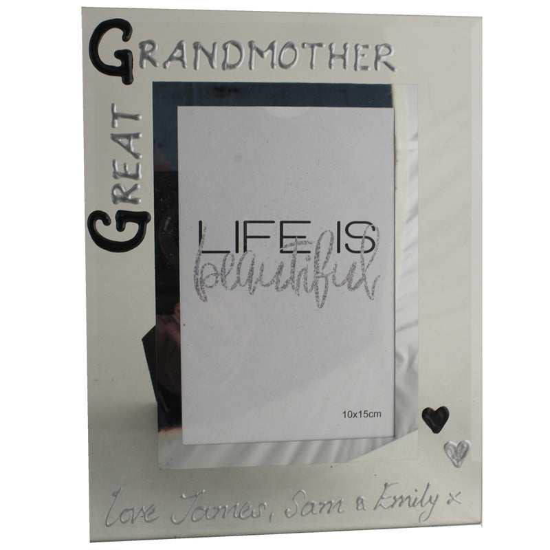 Great Grandmother Gift Photo Frame: Portrait (Blk/Sil)