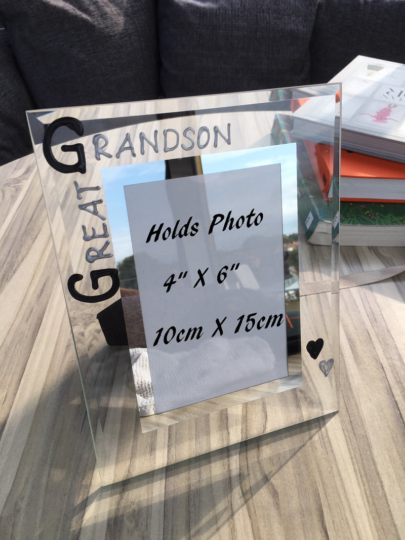 Great Grandson Photo Frame Portrait: (Blk & Sil)