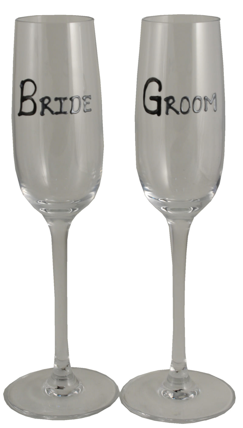 Bride & Groom Champagne Glassses (Blk/Sil)