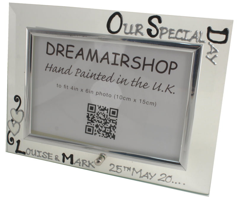 Personalised Our Special Day Photo Frame Land Blk/Sil