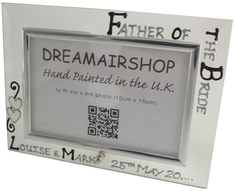 Personalised Father of the Bride Photo Frame (Blk/Sil)