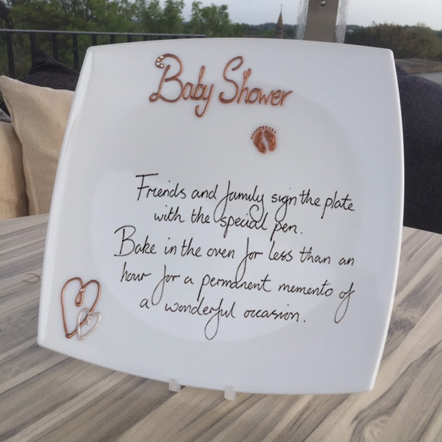 Baby Shower Gift Signing Plate: Copper with Crystals