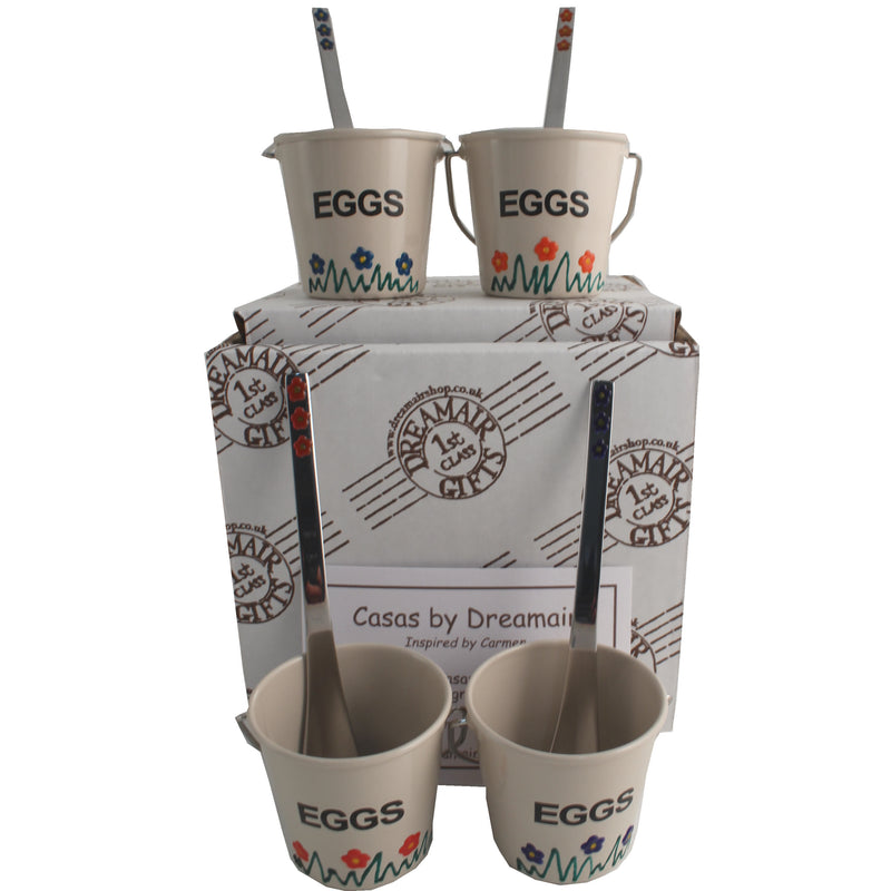4 Egg Cup & Spoon Set Gift Box