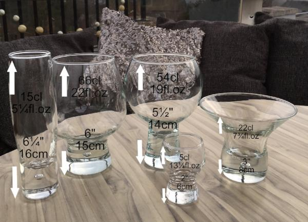 Gin and Tonic, Wine Large Bubble Glass Set 6