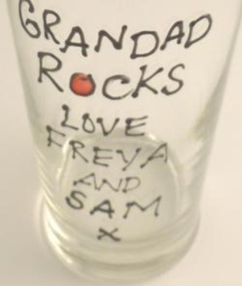 Personalised Grandad Rocks Pint Glass