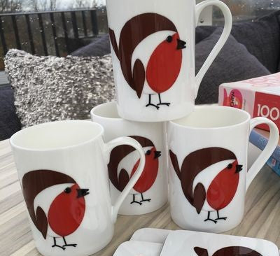 Robin Christmas Gift China Mug x4