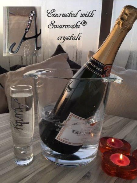 Personalised Gift Champagne Flute Glass: with Crystals (Silver)