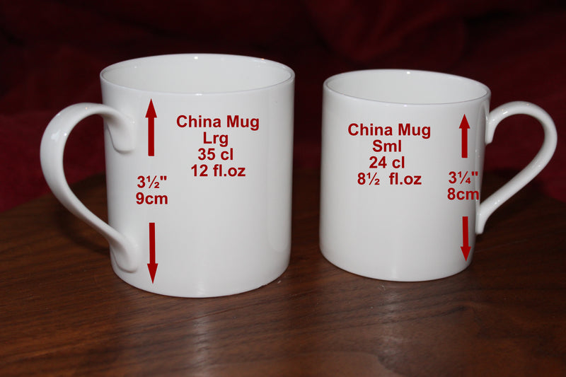 1st Wedding Anniversary China Mugs: (Blk/Sil)