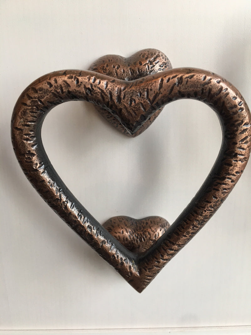Heart Door Knocker Textured Copper