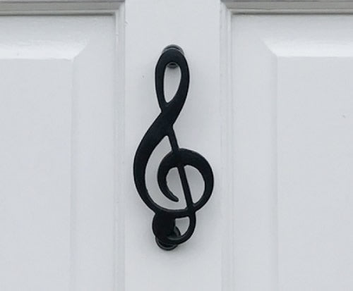 Musical Treble Clef Door Knocker: (Black)