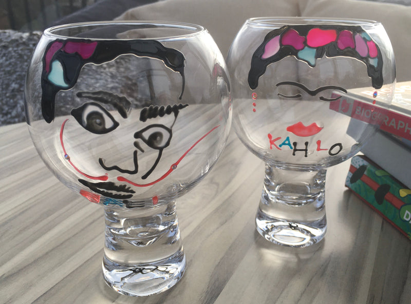 Frida Kahlo & Salvador Dali Luxury Gin and Tonic Glass with Swarovski Crystals