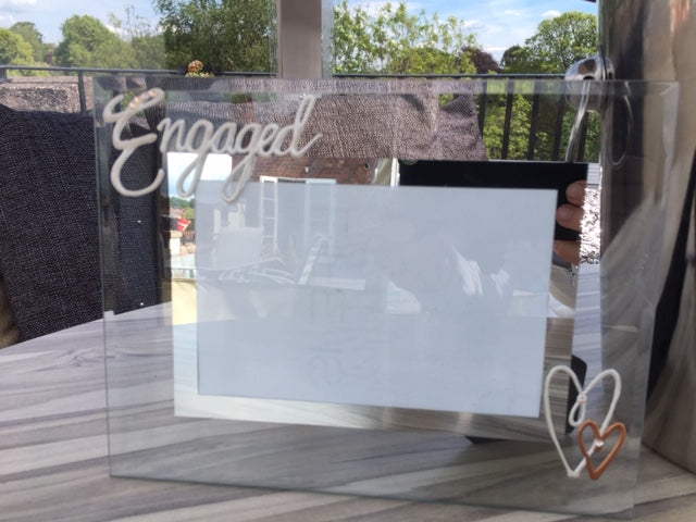 Personalised Engaged Photo Frame Land Pearl with Crystals