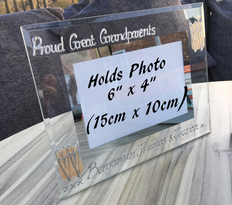 Proud Great Grandparents Photo Frame: Land (Coffee/Silver)