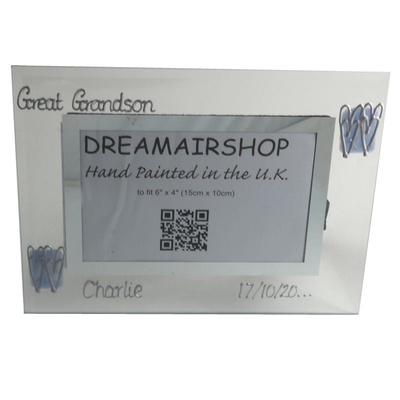 Personalised Great Grandson Photo Frame: Landscape (Blue Hearts)