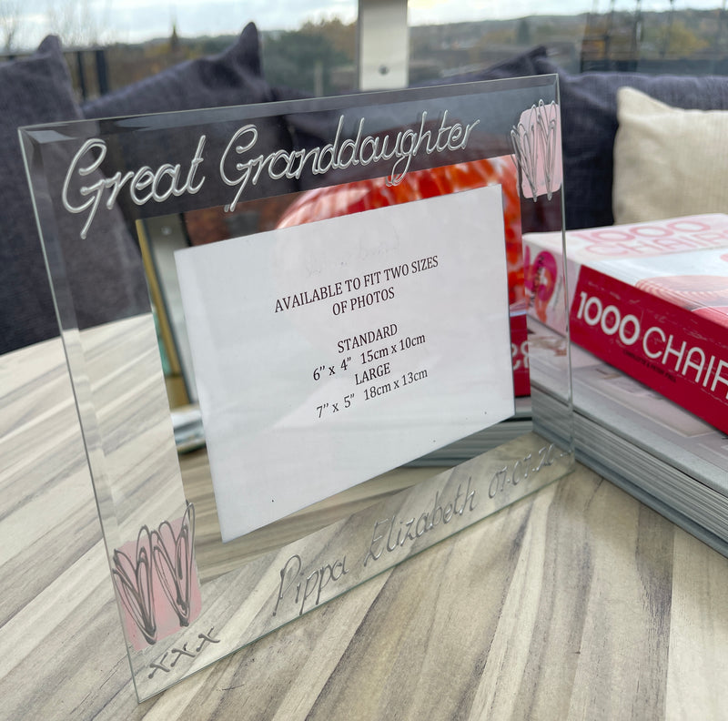 Personalised Great Granddaughter Landscape Heart Picture Frame