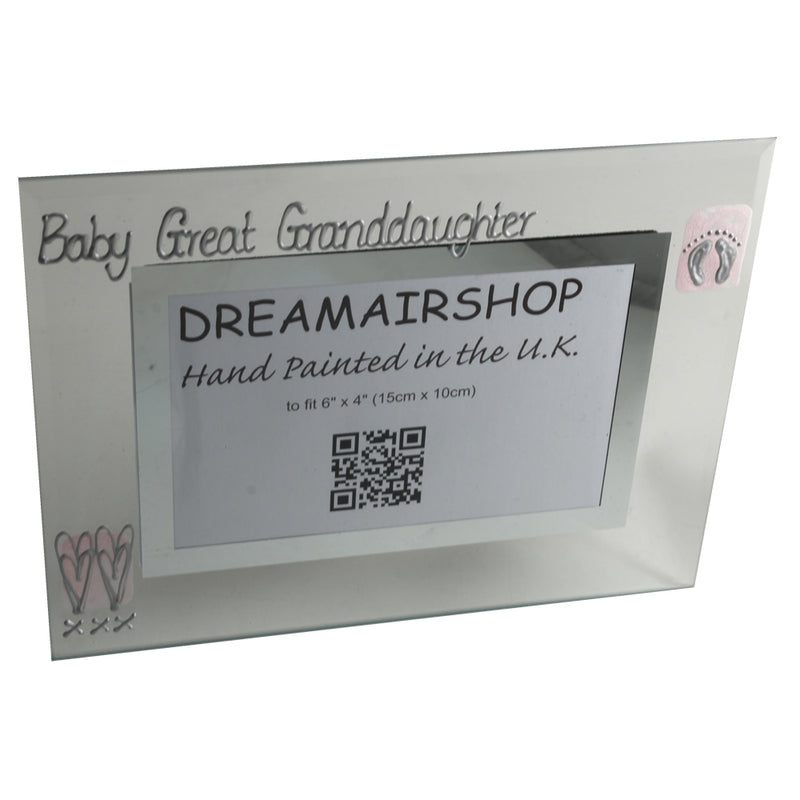 Baby Great Granddaughter Gift Frame: Landscape (Pink Heart/Feet)