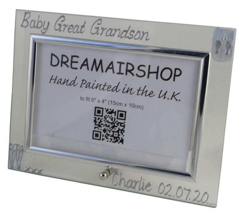 Personalised Baby Great Grandson Photo Frame Land (Blue Hearts)