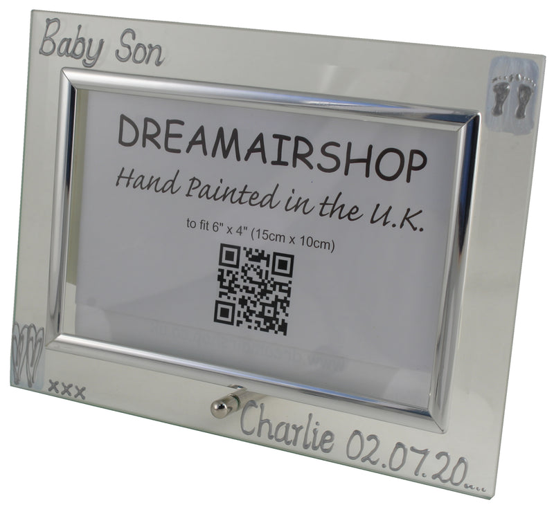 Personalised Baby Son Photo Frame Land (Blue Heart/Feet)