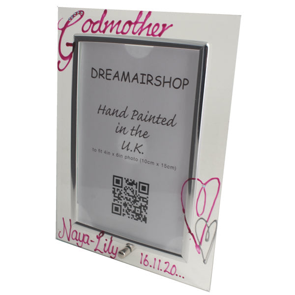 Personalised Godmother Gift Photo Frame: Portrait with Crystals (Magenta)