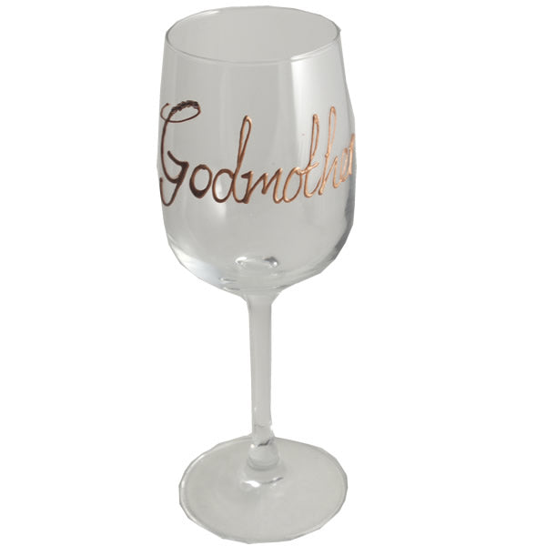 Godmother Design Gift Wine Glass: with Crystals (Copper)