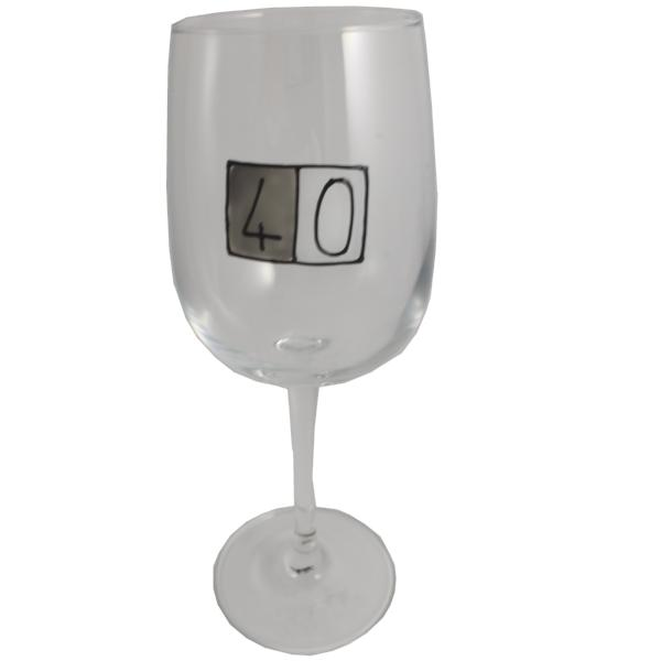40th Birthday Wine Glass Grey Sq