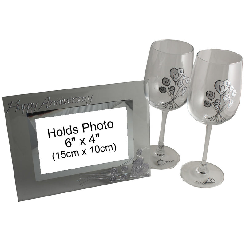 10th Wedding Anniversary Gift Set: Wine Glasses & Photo Frame (Flower)