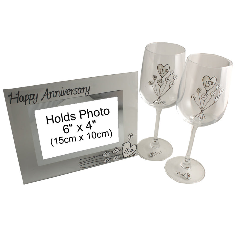 15th Wedding Anniversary Gift Set: Wine Glasses & Photo Frame (Flower)