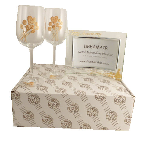 Personalised 1st Wedding Anniversary Wine Glasses and Frame Gift Set (Flower)