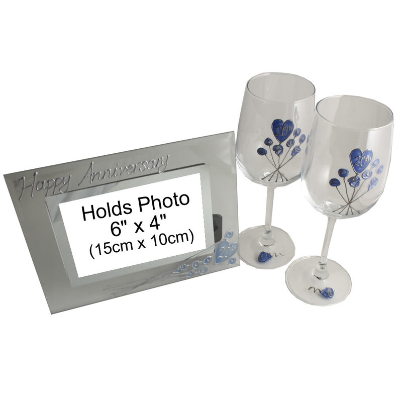 20th Wedding Anniversary Gift Set: Wine Glasses & Photo Frame (Flower)