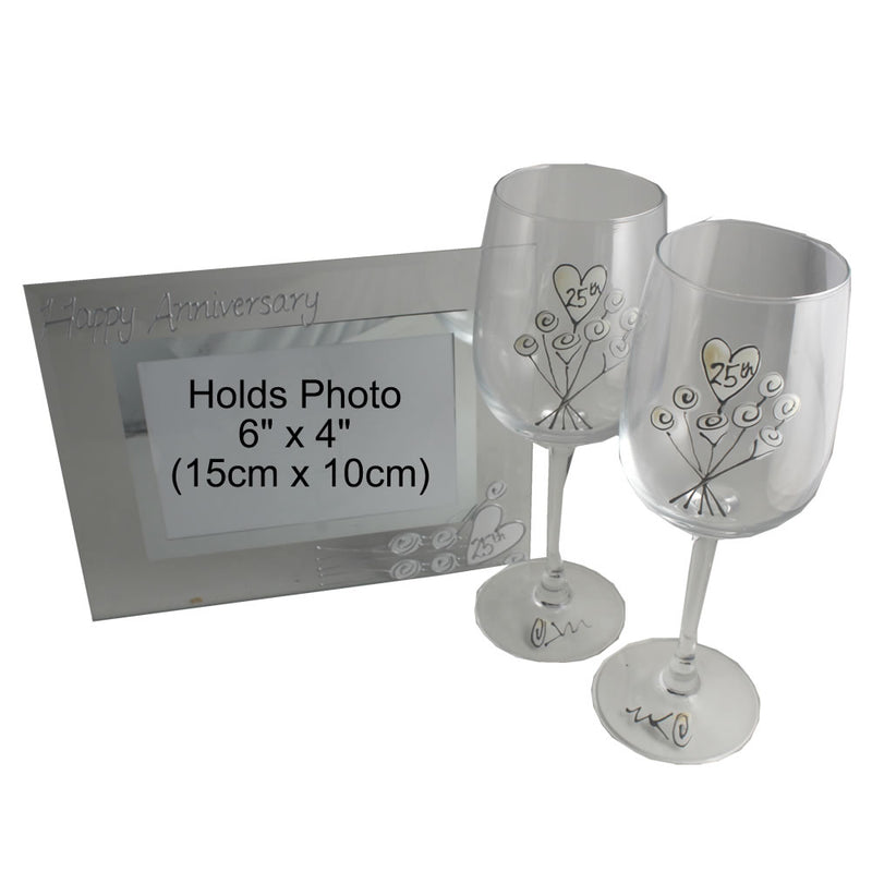 25th Wedding Anniversary Gift Set: Wine Glasses & Photo Frame (Flower)