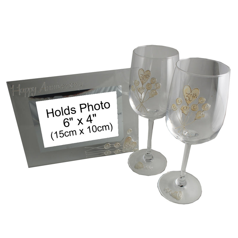 30th Wedding Anniversary Gift Set: Wine Glasses & Photo Frame (Flower)