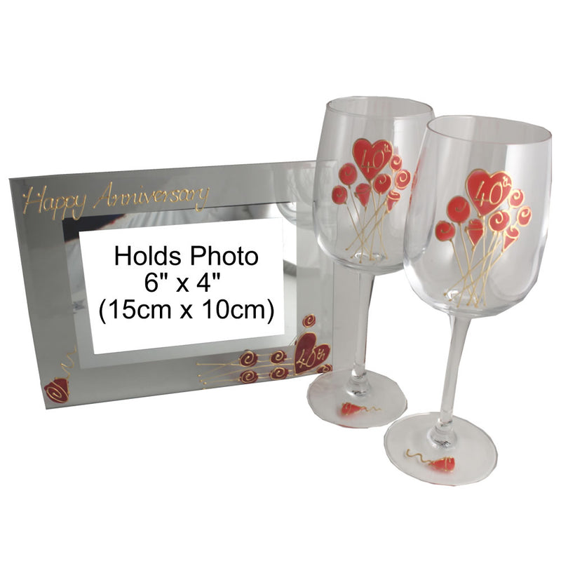40th Wedding Anniversary Gift Set: Wine Glasses & Photo Frame (Flower)