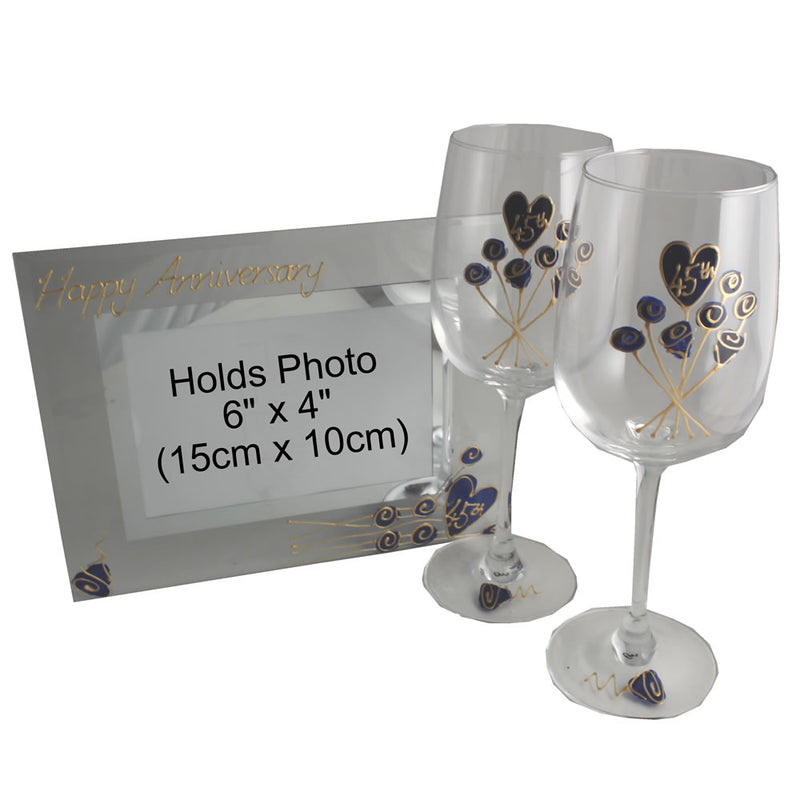45th Wedding Anniversary Gift Set: Wine Glasses & Photo Frame (Flower)