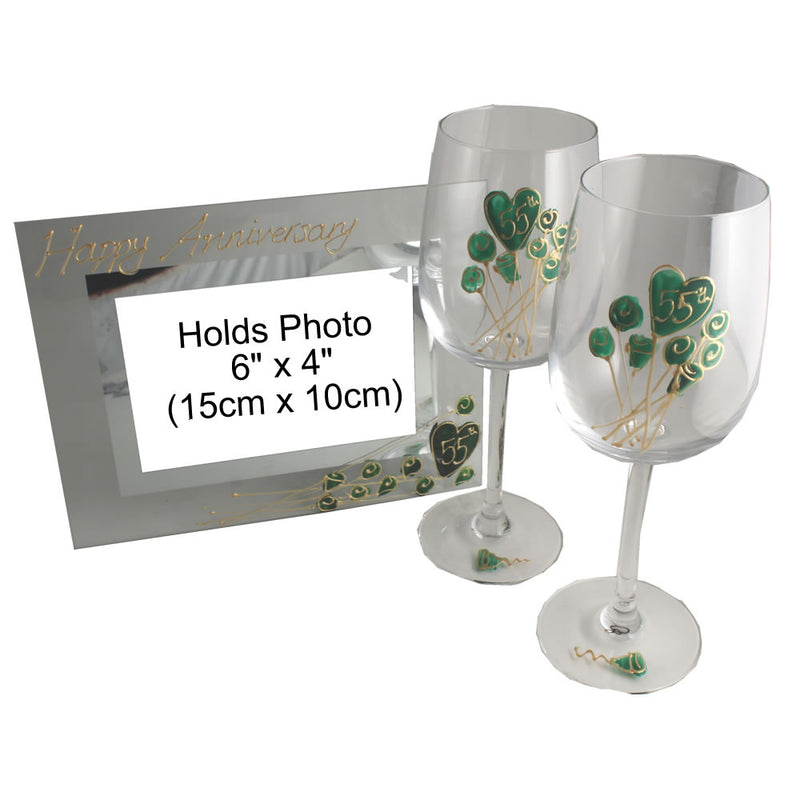55th Wedding Anniversary Wine Glasses and Frame Gift Set (Flower)