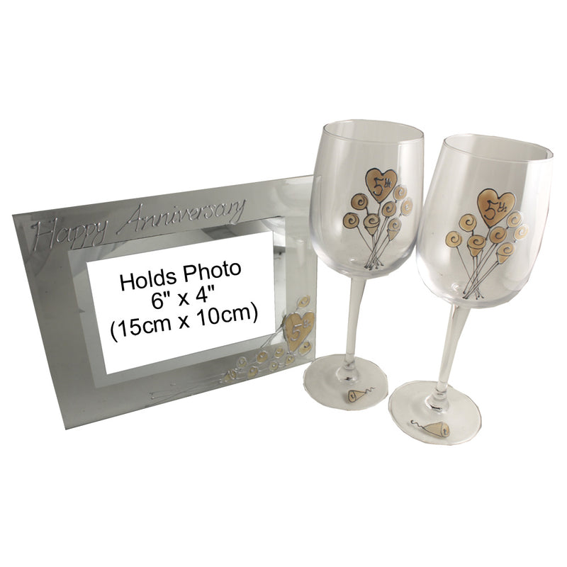 5th Wedding Anniversary Wine Glasses and Frame Gift Set (Flower)