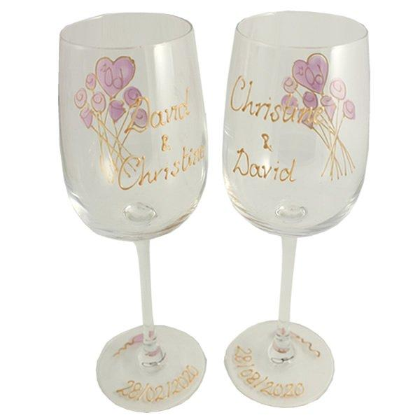 Personalised Wedding Anniversary Wines Glasses Flower