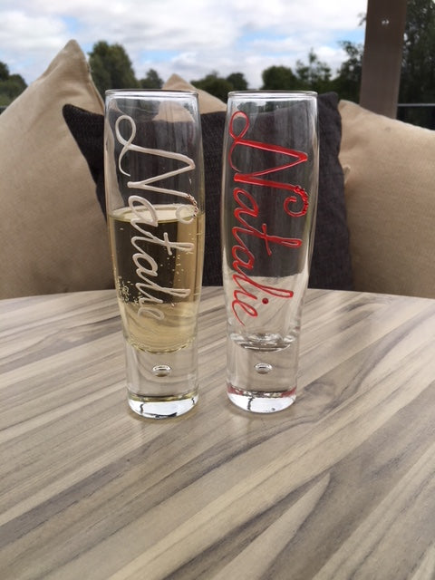 Personalised Gift Champagne Flute Glass: with Crystals (Pearl)