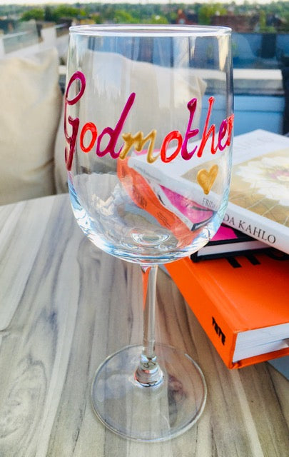 Personalised Wording Gift Wine Glass: (Mutlicoloured)