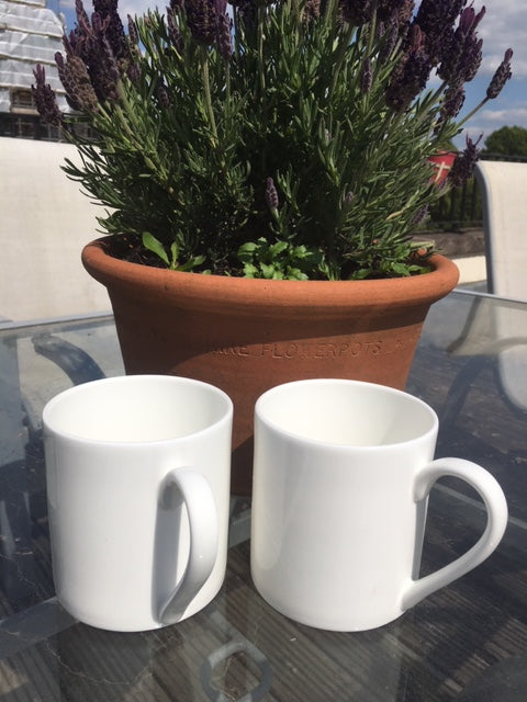 1 Pint Fine Bone China Mug x 2:
