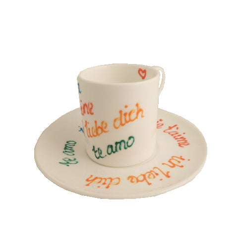Love International Espresso Set: Cup & Saucer Fine Bone China
