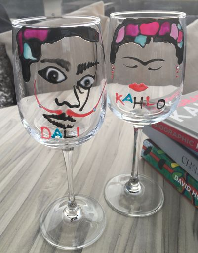 Frida Kahlo & Salvador Dali Luxury Wine Glass with Swarovski Crystals